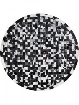 Couro Redondo Preto e Branco Malhado (5x5)