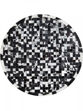 Tapete Couro Redondo Preto e Branco Malhado (5x5)