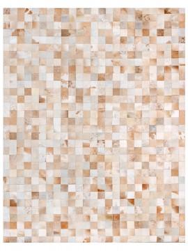 Tapete Couro Branco e Bege Malhado (7x7)