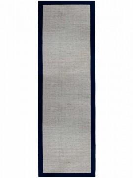 Tapete Sisal Polar CE com Borda Azul Marinho